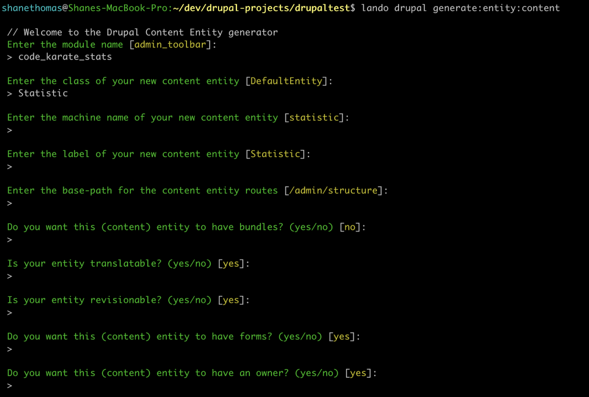 Drupal Console Generate Entity