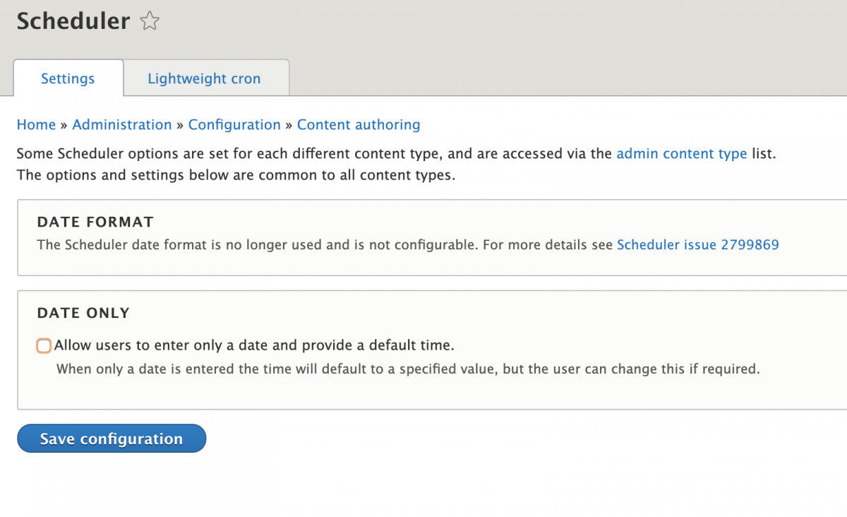 Drupal Scheduler Module settings page