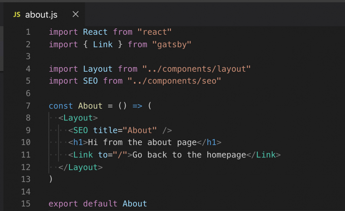Gatsby About page component